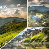 Collage of Zakopane mountains national park in Polonia Stock Images