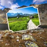 Collage of Zakopane mountains national park in Polonia Royalty Free Stock Images