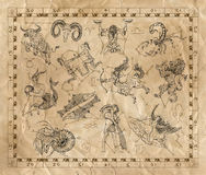 Collage with zodiac signs on old paper Royalty Free Stock Image