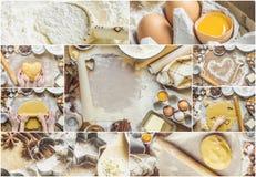 Collagebakelse, kakor, lagar mat deras egna händer Arkivbild