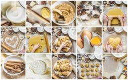 Collagebakelse, kakor, lagar mat deras egna händer Fotografering för Bildbyråer
