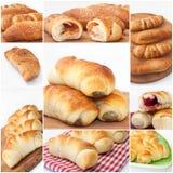 Collagebeeld met gebakken broodjes royalty-vrije stock foto's