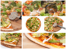 Collagebeeld met negen pizzabeelden stock afbeeldingen