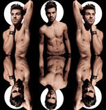 Collagebild av en naken man med ljus aura Royaltyfria Bilder