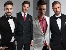 Collagebild av fyra olika stående för moderna män royaltyfri fotografi