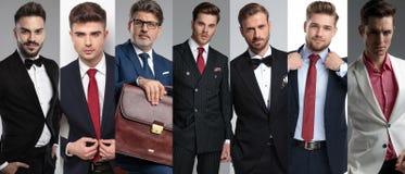 Collagebild av sju eleganta män som bär dräkter fotografering för bildbyråer
