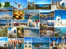 Collagebilder av den Cyclades ön i Grekland Royaltyfri Fotografi