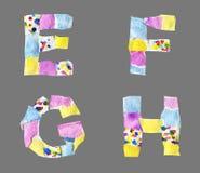 Collagebokstäver från E till H gjorde av isolerat papper på grå backg stock illustrationer