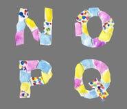 Collagebokstäver från N till Q gjorde av isolerat papper på grå backg vektor illustrationer