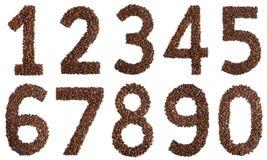 Collagecijfers van koffiebonen op witte achtergrond worden geïsoleerd die Stock Fotografie