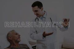 Collagedoktor Talks till patienten i sjukhusrum royaltyfri foto