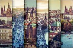 Collagefotosikt av den gamla staden i Prague Fotografering för Bildbyråer