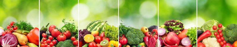 Collagefrukter och grönsaker delade vertikala linjer på gräsplanna Arkivfoto