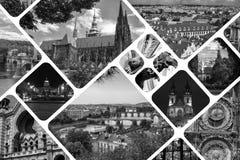CollagegränsmärkePrague Tjeckien royaltyfri fotografi
