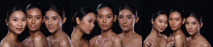Collagegruppen av den härliga brunbrända rena hudkvinnan slogg in svart royaltyfria foton