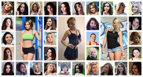 Collagegruppstående av unga caucasian flickor för social medi fotografering för bildbyråer