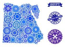 Collagekaart van Egypte met Toestellen en Rubberverbindingen voor de Dienst stock illustratie