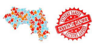 Collagekaart van Frans Guinea van Vlam en Sneeuw en de Extreme Zegel van Gevaarsgrunge royalty-vrije illustratie