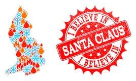 Collagekaart van Liechtenstein van Vlam en Sneeuw en ik geloof in Santa Claus Grunge Stamp vector illustratie