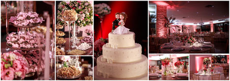 Collagem of wedding sweets Stock Images
