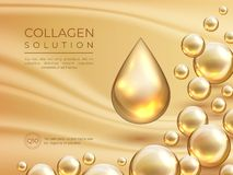 Collagen background. Cosmetic skin care ad banner, beauty essence and luxury face mask concept. Vector collagen serum. Drops template stock illustration