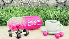 Collagen capsiule, Two dumbbells and a cup of coffee. Sport nutrition for bodybuilding and beauty 3d illustration. Connective tiss. Ue stock illustration
