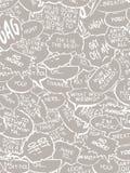 Collagen-Comic-Buchdialog sprudelt weißes Grau Stockbild