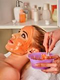 Collagen face mask . Facial skin treatment. Woman receiving cosmetic procedure. royalty free stock photography