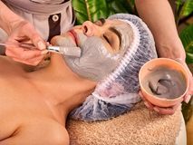 Collagen face mask. Facial skin treatment. Woman receiving cosmetic procedure. Collagen face mask. Facial skin treatment. Face of women of elderly women 50-60 stock images