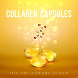 Collagen Formula Capsules Golden Background POster Royalty Free Stock Photos