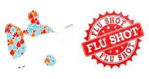 Collagen-Karte von Guadeloupe der Flamme und der Schneeflocken und des Grippeimpfungs-Schmutz-Stempels vektor abbildung