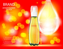 Collagen Premium Serum container template with drop, glossy bottle on the sparkling effects background. Royalty Free Stock Photo