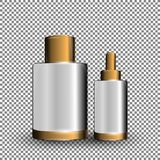 Collagen Premium Serum white containers template, glossy bottles on the transparent background. Mock-up 3D Realistic Vector illust Stock Image