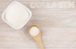 Collagen protein powder - Hydrolyzed. Cólageno. Collagen It mainly provides the elasticity of our skin stock images