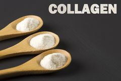 Collagen protein powder - Hydrolyzed. Cólageno. Collagen protein powder in three spoons - Hydrolyzed royalty free stock photo