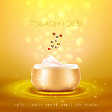Collagen Skin Cream Golden Background Poster Stock Image
