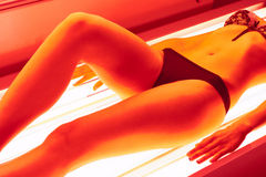 Collagen solarium. Beautiful girl closeup collagen solarium royalty free stock photo