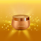Collagen solution intensive cream tube gold background advertisement poster for pharmaceutical and cosmetics products. Realistic vector illustration. Collagen Stock Photography