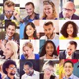 Collagen-verschiedenes Gesichts-Gruppen-Leute-Konzept Stockfoto