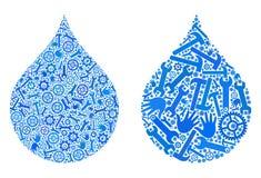 Collagen-Wasser-Tropfen-Ikonen von Service-Werkzeugen lizenzfreie abbildung