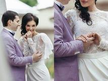 Collagenbild der glücklichen Braut und des Bräutigams, die Han lächelt und hält stockfotografie