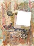 Collageneinklebebuchhintergrund-Fotorahmen der gemischten Medien grungy künstlerischer gemalter Stockfoto