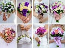 Collagenfotos von den Hochzeitsblumensträußen in den Händen der Braut Lizenzfreie Stockfotos