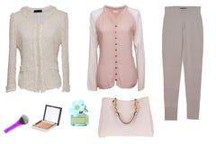 Collagenfrauenkleidung Stellen Sie von den stilvollen und modischen Frauenblusen, von den Hosen, von der Handtasche und von den Z stockfotografie