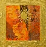 Collagengestaltungsarbeit mit Sonne Lizenzfreie Stockbilder
