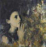 Collagenmalerei mit Mädchen Zahl Stockfotografie