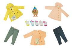Collagensatz Kinderkleidung Konzeptfrühling und Sommerstoff lizenzfreie stockfotos