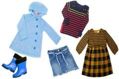 Collagensatz Kinderkleidung Konzeptfrühlingsherbst- und -sommerkleidung lizenzfreies stockbild