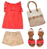 Collagensatz weibliche Sommerkleidung Bauschen Sie sich, Schuhe auf Fersen, modernes w Stockfotos