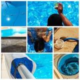 Collageonderhoud van een privé pool royalty-vrije stock fotografie